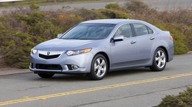 acura, 2010, blue, side view, style, auto, acura, tsx, speed, clouds, shrubs, road - wallpapers, picture