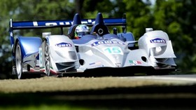 acura, white, blue, car, front view, track, sport, movement, trees, car - wallpapers, picture