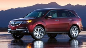 acura, burgundy, style, side view, acura, mdx, wet asphalt, sunset, mountains, car - wallpapers, picture