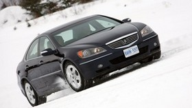 acura, black, side view, style, acura, rl, auto, snow, trees - wallpapers, picture