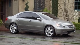 acura, concept car, 2004, metallic gray, acura, rl, concept, side view, style, auto, grass, building, shrubs - wallpapers, picture