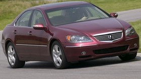 acura, sedan, red, front view, style, acura, rl, auto, grass, trees, asphalt - wallpapers, picture