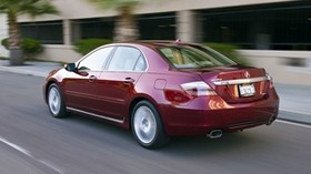acura, sedan, red, rear view, style, acura, rl, auto, speed, building, asphalt - wallpapers, picture