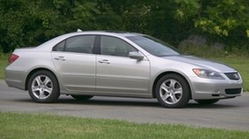 acura, silver, side view, sedan, acura, rl, auto, grass, trees - wallpapers, picture