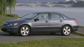 acura, gray, side view, style, acura, rl, auto, nature, bridge, city, water, tree, grass - wallpapers, picture