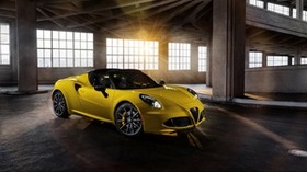 alfa 4c spider, alfa, yellow, side view - wallpapers, picture