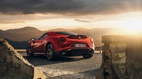 alfa-romeo, 4c, launch edition, red, rear view - wallpapers, picture