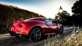alfa romeo, alfa romeo 4c, red, side view - wallpapers, picture