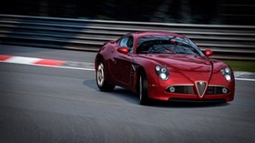 alfa romeo, graceful entrance, red - wallpapers, picture