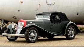 aston martin, 1937, black, green, side view, style, aston martin, auto, airplane - wallpapers, picture