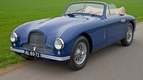 aston martin, 1951, blue, side view, style, auto, aston martin, nature, grass, houses, trees - wallpapers, picture