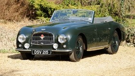 aston martin, 1952, retro, green, front view, style, aston martin, auto, grass, shrubs - wallpapers, picture