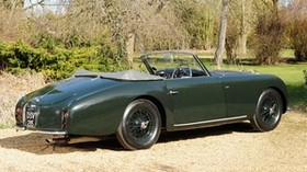 aston martin, 1952, green, side view, style, auto, retro, aston martin, nature, trees, shrubs - wallpapers, picture