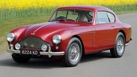 aston martin, 1958, red, side view, style, auto, retro, aston martin, nature, field, flowers, trees, asphalt - wallpapers, picture