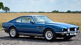 aston martin, 1972, blue, side view, auto, aston martin, v8, saloon, sky - wallpapers, picture