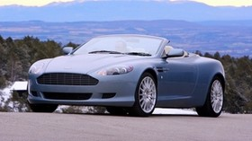 aston martin, 2004, blue, front view, style, aston martin, db9, auto, nature, mountains, trees - wallpapers, picture