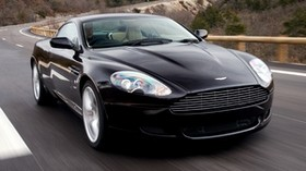 aston martin, 2006, black, front view, style, auto, aston martin, db9, sport, speed, nature, trees, asphalt - wallpapers, picture