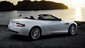 aston martin, 2008, white, side view, style, auto, aston martin, db9, nature, sea, sunset, rocks - wallpapers, picture