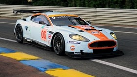 aston martin, 2008, white, side view, style, sport, aston martin, dbr9, auto, trees, asphalt - wallpapers, picture