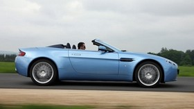 aston martin, 2008, blue, side view, convertible, aston martin, v8, vantage, asphalt - wallpapers, picture