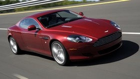 aston martin, 2008, red, side view, style, aston martin, db9, auto, speed, trees, asphalt - wallpapers, picture