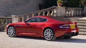 aston martin, 2008, red, side view, style, aston martin, dbs, house, shrubs - wallpapers, picture