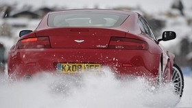 aston martin, 2008, red, rear view, style, aston martin, v8, drift, snow - wallpapers, picture