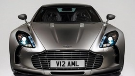 aston martin, 2009, metallic gray, front view, car, aston martin, one-77 - wallpapers, picture