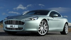 aston martin, 2009, metallic green, front view, style, aston martin, rapide, sky - wallpapers, picture