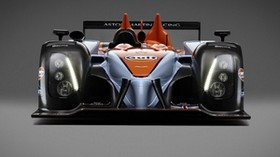 aston martin, amr-one, lmp1, 2011, black, orange, front view, aston martin, racing car - wallpapers, picture