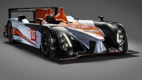 aston martin, amr-one, lmp1, 2011, black, orange, front view, racing car, aston martin - wallpapers, picture