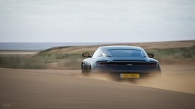 aston martin db11, aston martin, sports car, blue, rear view, desert, sand - wallpapers, picture