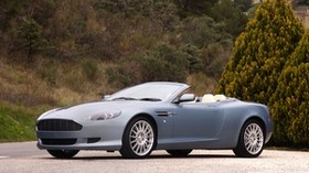 aston martin, db92004, blue, side view, sport, aston martin, trees, shrubs - wallpapers, picture