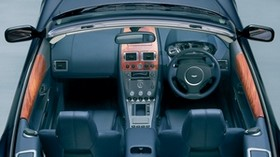 aston martin, db9, 2004, black, salon, interior, steering wheel, speedometer - wallpapers, picture