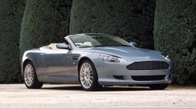 aston martin, db9, 2004, blue, side view, style, auto, aston martin, shrubs - wallpapers, picture