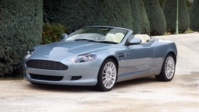 aston martin, db9, 2004, blue, side view, style, auto, aston martin, nature, shrubs, trees - wallpapers, picture
