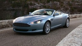 aston martin, db9, 2004, blue, side view, style, auto, aston martin, nature, grass, asphalt - wallpapers, picture