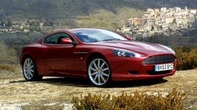 aston martin, db9, 2004, red, side view, style, aston martin, auto, nature, trees, houses - wallpapers, picture