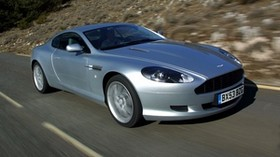 aston martin, db9, 2004, silver metallic, side view, style, auto, aston martin, speed, nature, trees, asphalt - wallpapers, picture