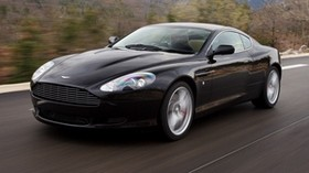aston martin, db9, 2006, black, side, style, sport, aston martin, auto, speed, mountains, trees, nature, asphalt - wallpapers, picture