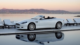 aston martin, db9, 2008, white, side view, style, auto, aston martin, nature, mountains, sea, reflection - wallpapers, picture