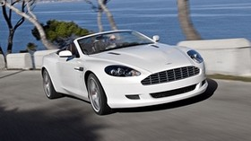 aston martin, db9, 2008, white, front view, style, sport, aston martin, auto, speed, sea, mountains, trees, asphalt - wallpapers, picture