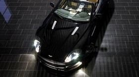 aston martin, db9, 2008, black, top view, sport, style, aston martin, auto, reflection - wallpapers, picture