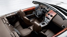 aston martin, db9, 2008, brown, top view, salon, interior, steering wheel, speedometer - wallpapers, picture