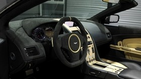aston martin, db9, 2009, black, salon, interior, steering wheel, speedometer - wallpapers, picture