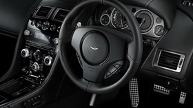 aston martin, db9, 2010, black, salon, interior, steering wheel, speedometer - wallpapers, picture