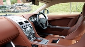 aston martin, db9, 2010, brown, interior, steering wheel, speedometer, leather - wallpapers, picture