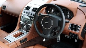 aston martin db9, 2010, brown, interior, leather, interior, steering wheel, speedometer - wallpapers, picture