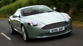 aston martin, db9, 2010, metallic green, front view, style, sport, aston martin, auto, speed, shrubs, asphalt - wallpapers, picture
