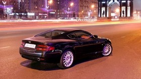 aston martin, db9, black, side, style, auto, aston martin, city, buildings, lights, asphalt - wallpapers, picture